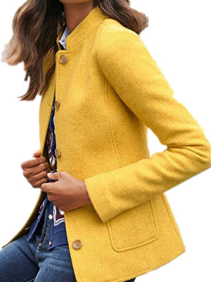 Plain Stand Collar Wool Coat