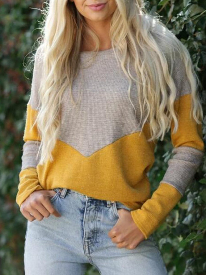 Crew Neck Color Block Long Sleeve Sweater