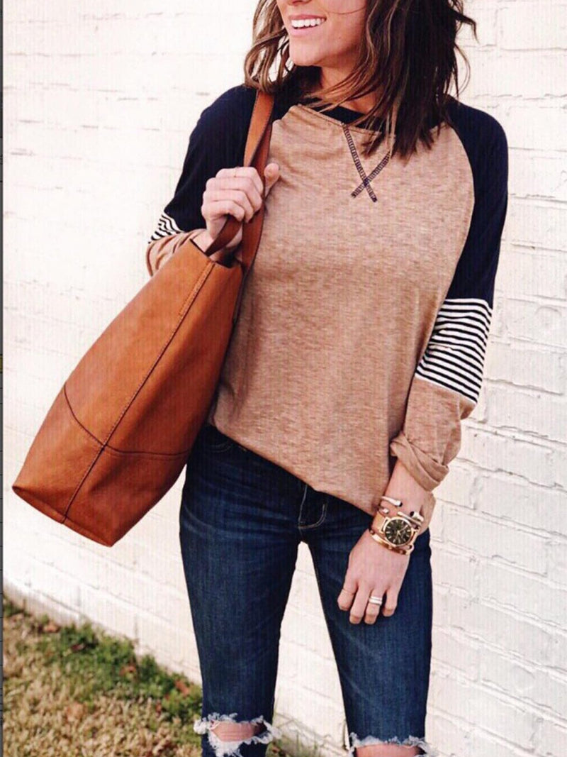 Striped Long-sleeved Color Block T-shirt with Round Neck