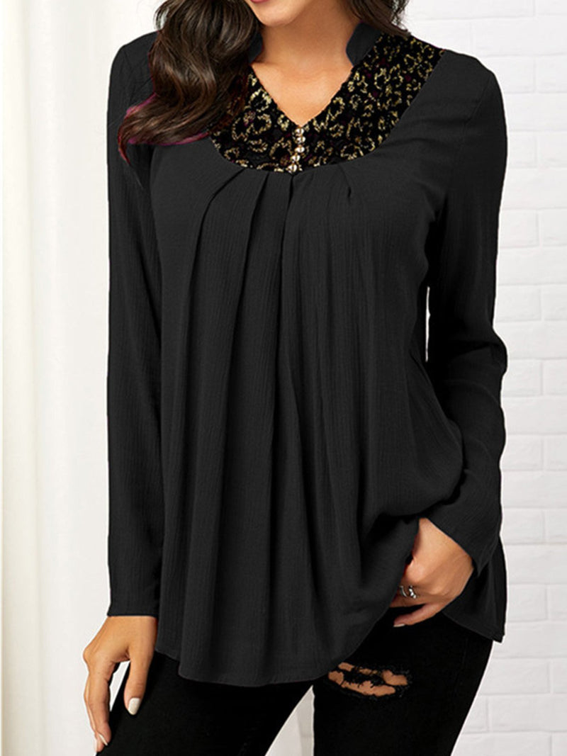 Printed V-Neck Long Sleeved Shirt