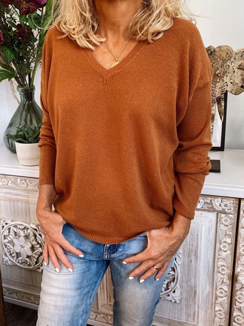 V-neck Solid Long Sleeved Loose Top