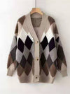 Loose Diamond medium-length V-neck cardigan