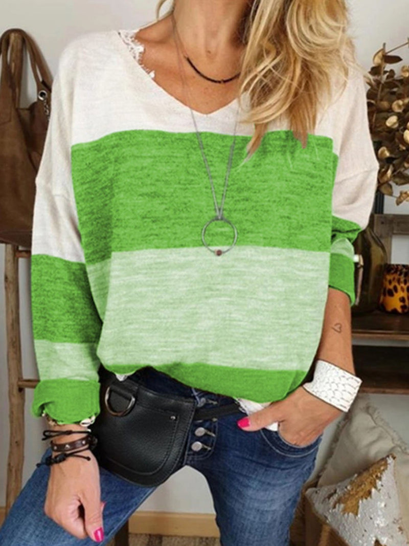 Casual Top with V-neckline and Long Sleeves