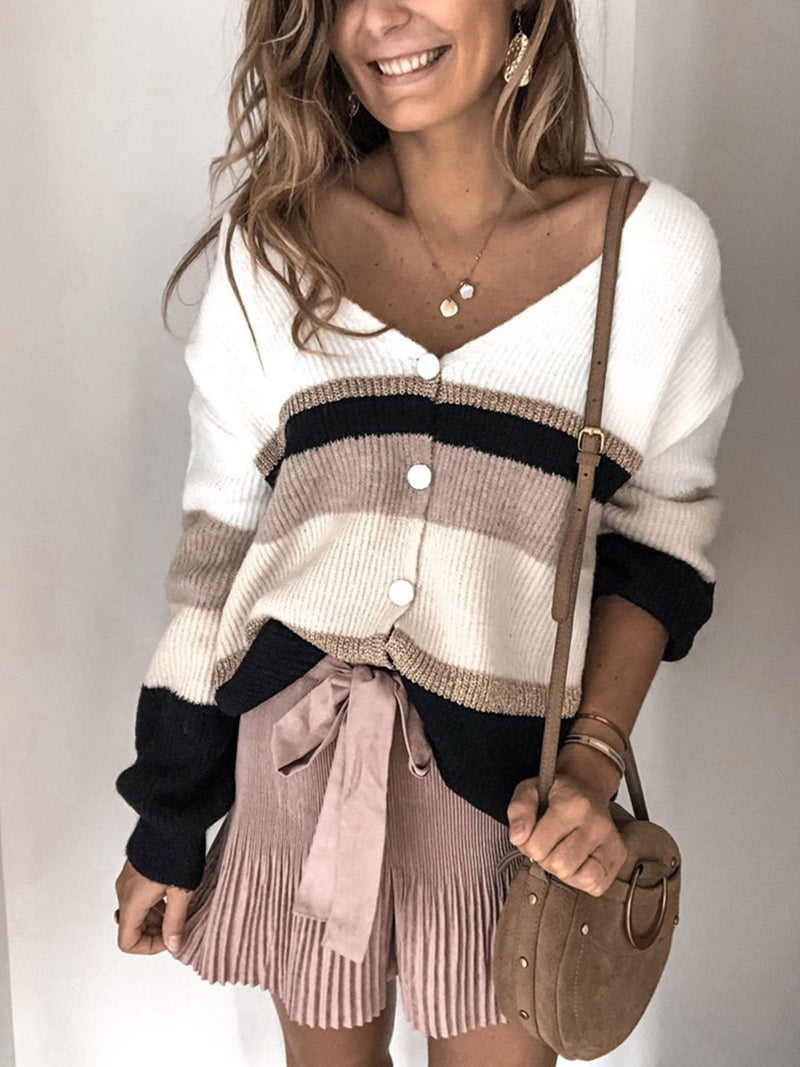 Single Breasted V-Neck Long Sleeve Sweater