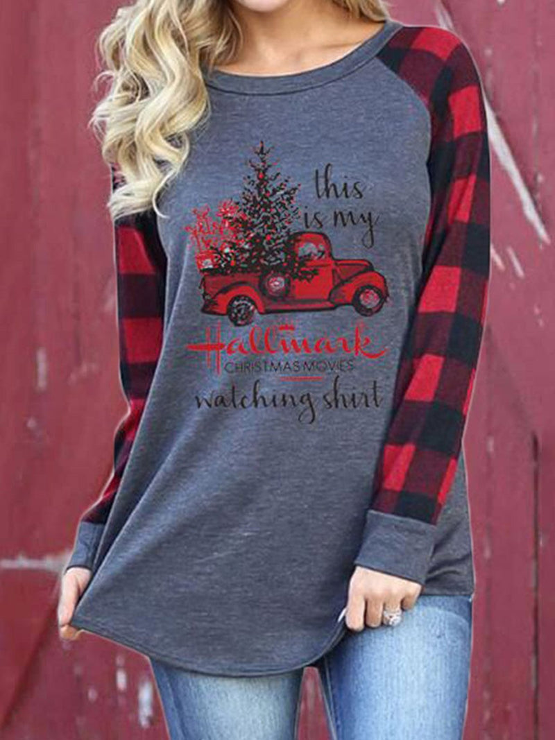 Truck & Letter Print Plaid Long Sleeve T-Shirt