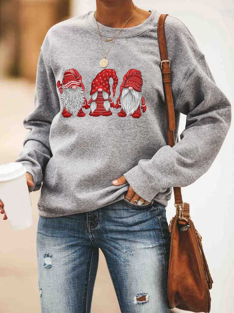 Three Santa Print Long Sleeve T-shirts