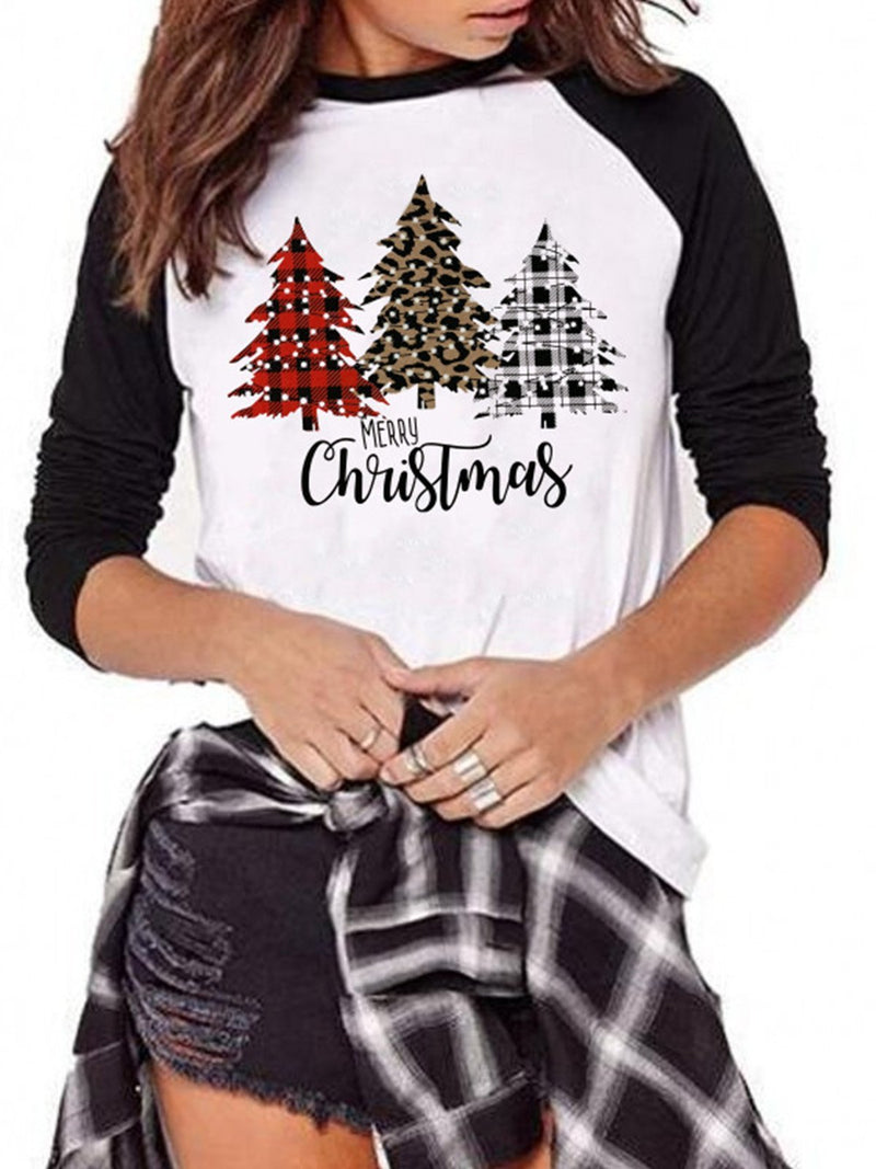 Christmas Tree Print Crew Neck Shirt