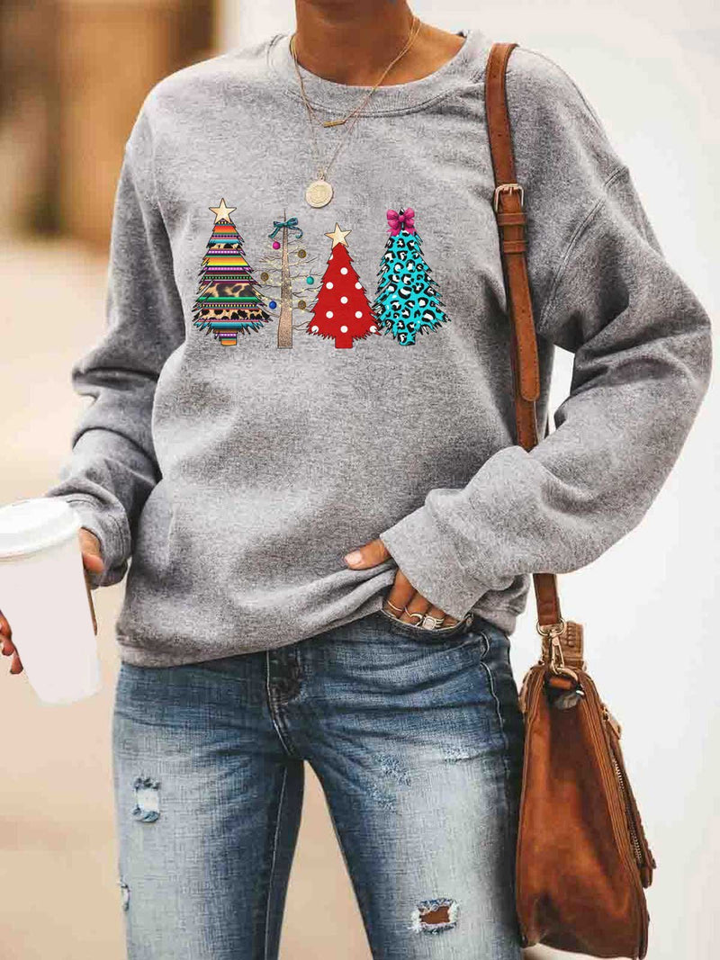 Four Christmas Tree Print Crew Neck Long Sleeve Shirt