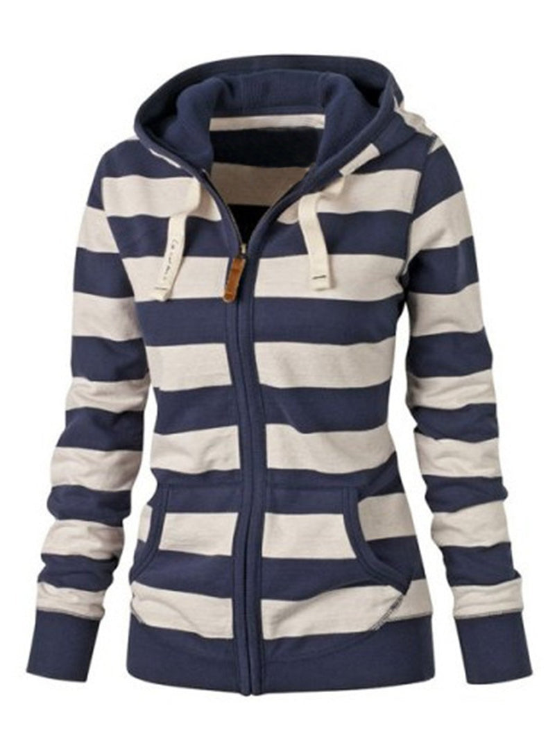 Long Sleeved Blue Striped Hoodie