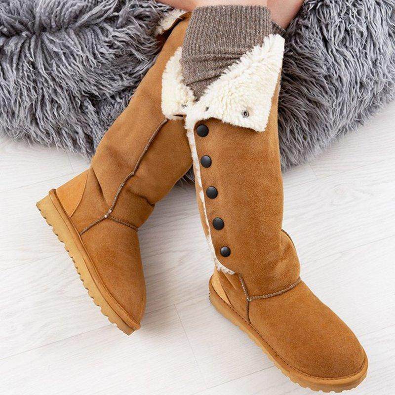 Women's Winter Flat Heel Suede Boots