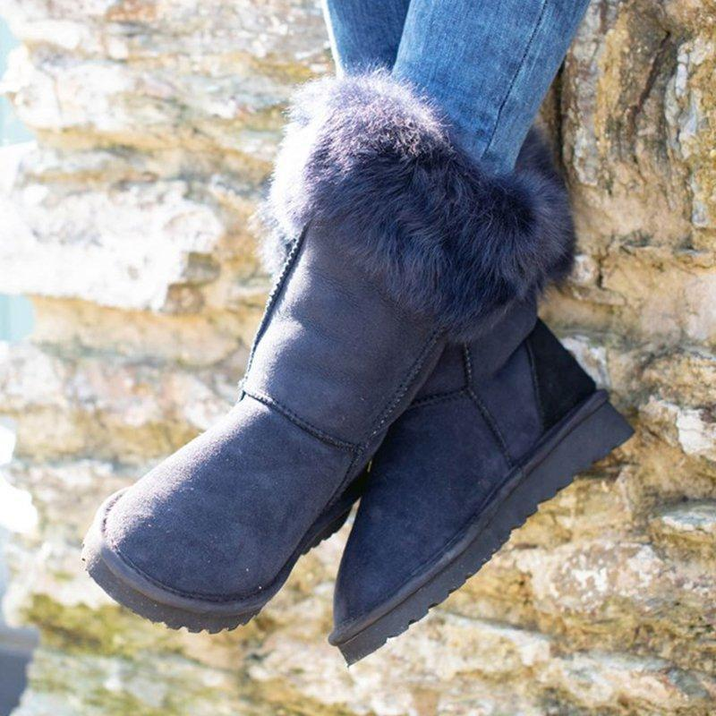 Nvay Blue Flat Heel Winter Daily Boots