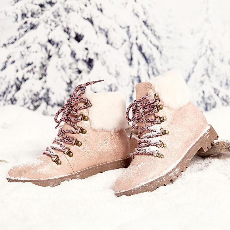 Winter Casual Lace-Up Flat Heel Snow Boots