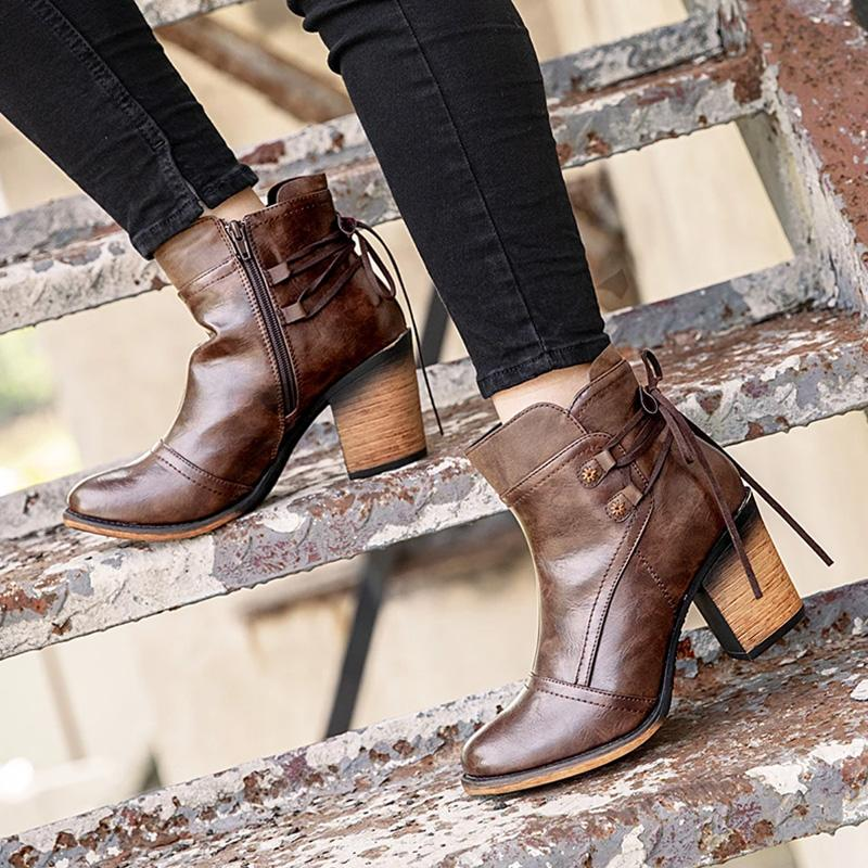 Brown Chunky High Heel Women Round Toe Boots
