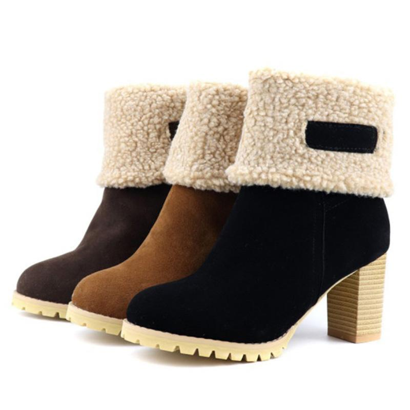 Plain Round Toe Chunky High Heel Boots