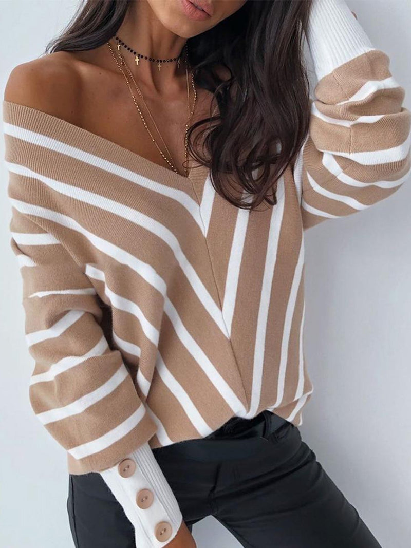 Khaki V Shape Stripe V Neck Buttoned Sleeve Loose Sweater