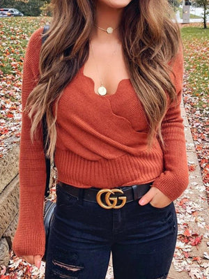 Simple Slim V-neck Knit Top