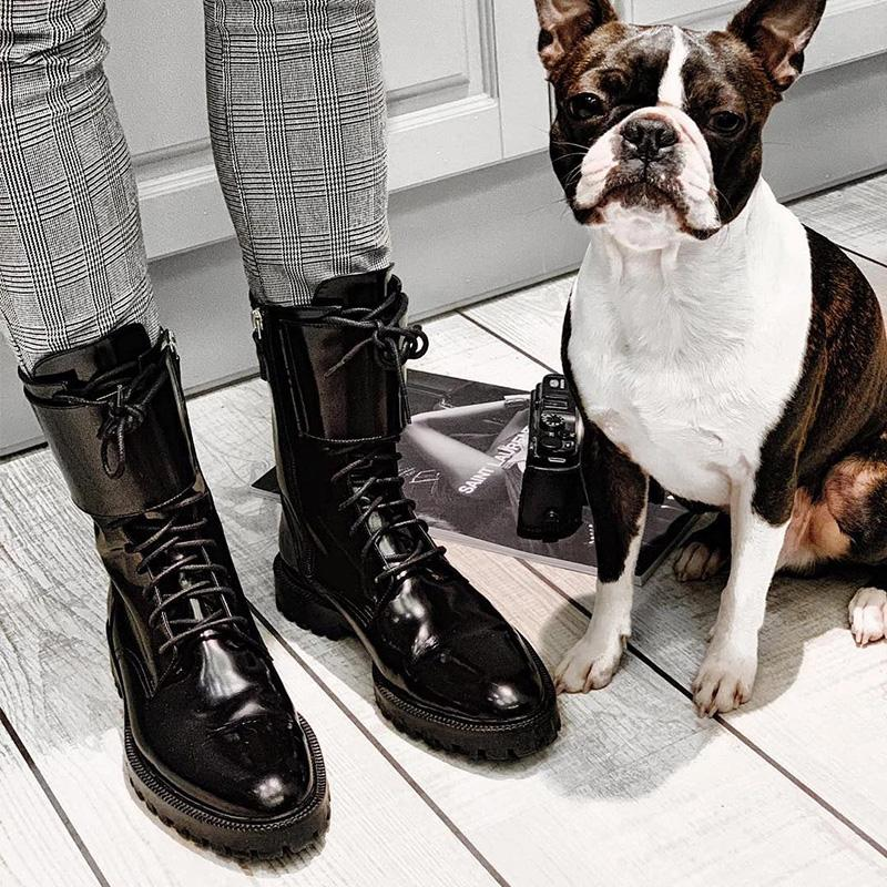 F/W Black Lace-up Riding Boots