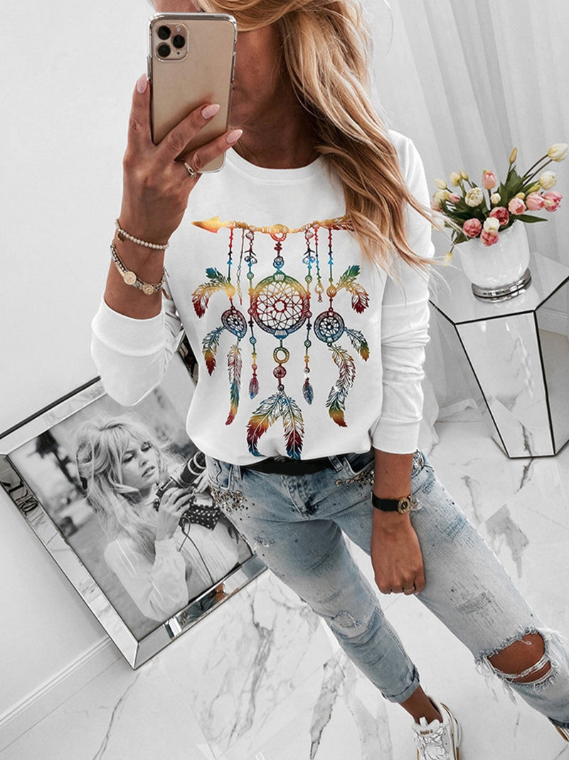 Dreamcatcher White Printed Roundneck Top