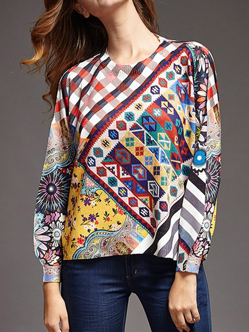 Long Sleeve Shirt with Geometric Print