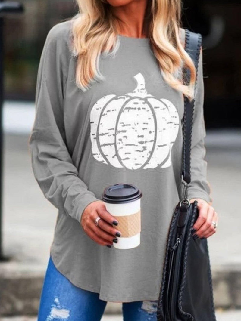 Pumpkin Print Round Neck Loose Plus Size T-Shirt
