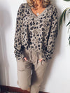 Leopard Print V Neck Long-Sleeved Loose Blouse