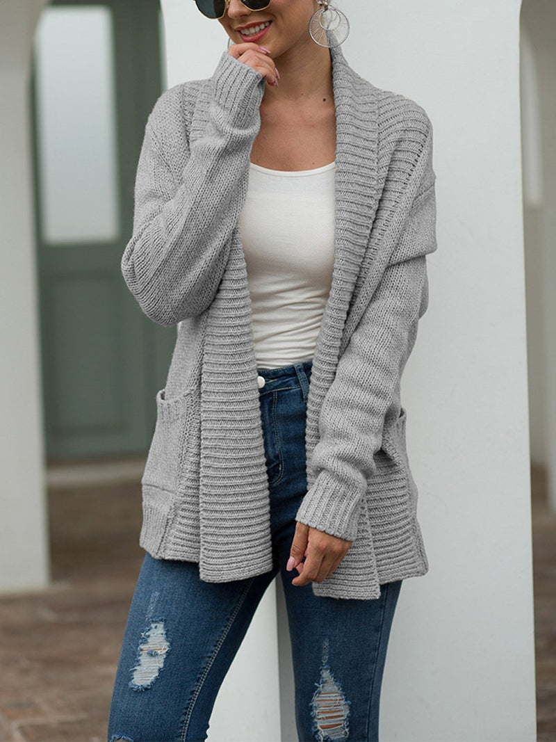 Turndown Collar Solid Sweater Knit Cardigan