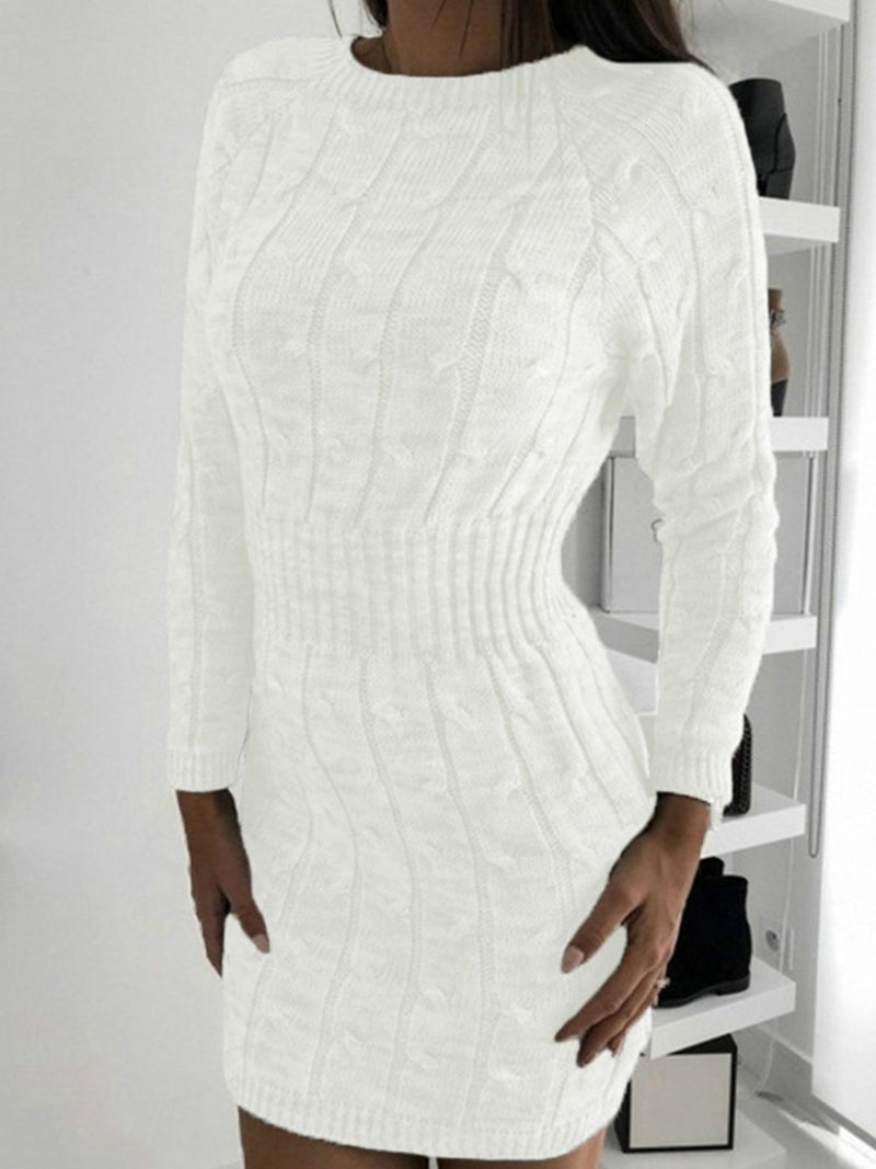 Round Neck Knit Sheath Sweater Dress