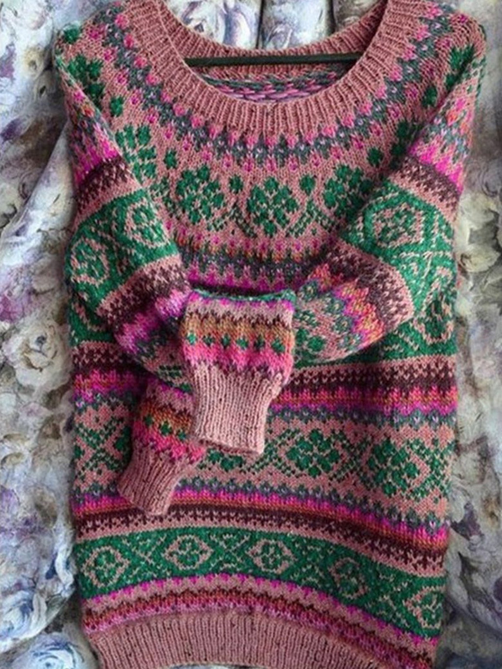 Crew Neck Print Sweater