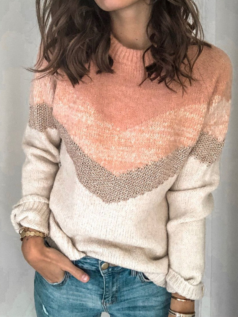 Multicolored Sweater with Round Neckline