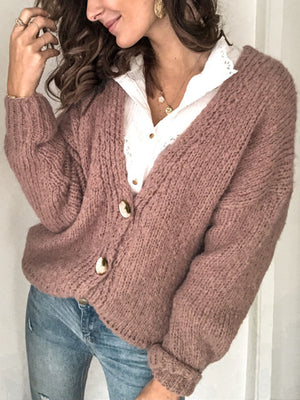 Casual Single-Breasted V-Neck Knit Sweater