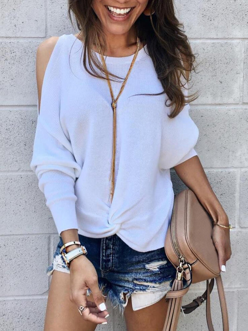 White Off Shoulder Loose Solid Long Sleeve Shirt
