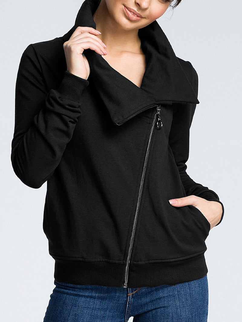 Plain Zipper Turtleneck Sweater