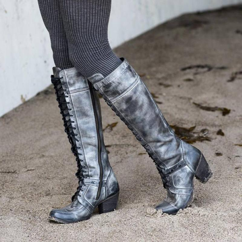 Pointed Toes Chunky Heel Gray Boots
