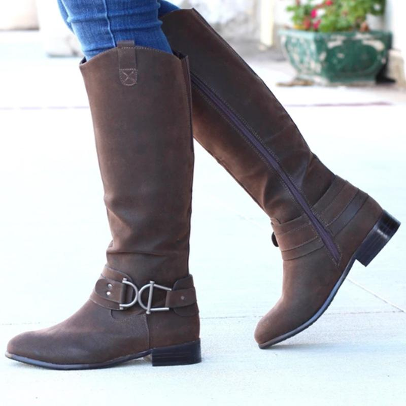 Buckle Brown Riding Boots