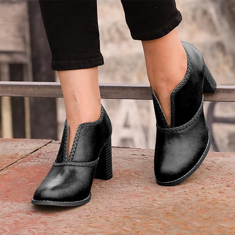 Plain Cut Out Solid Winter Boots