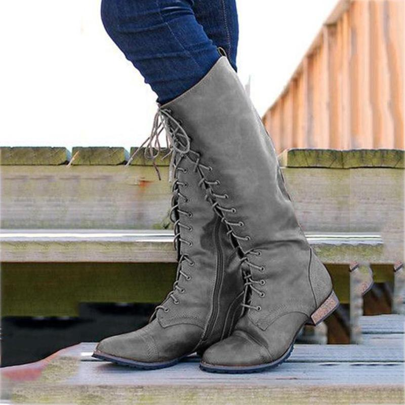 Low Heel Solid Lace-up Mid-calf Boots