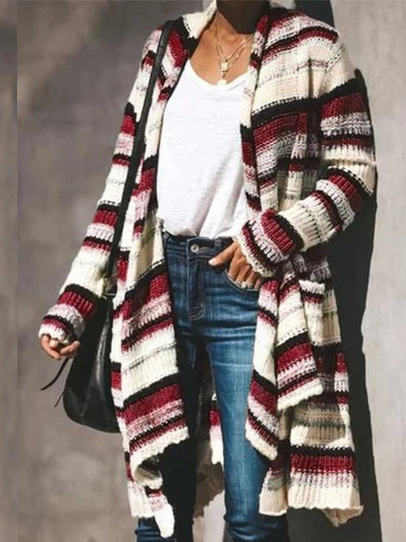 Colored Stripe Casual Long Sweater Cardigan