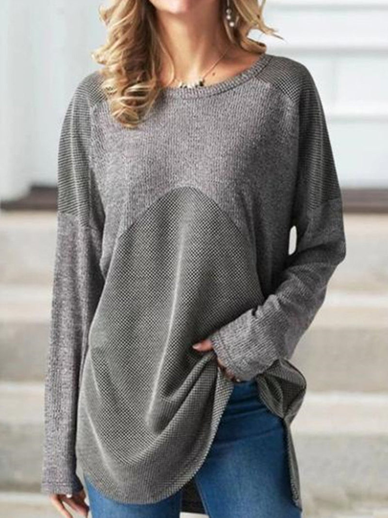 Plus Size Splice Solid Round Neck Loose Blouse