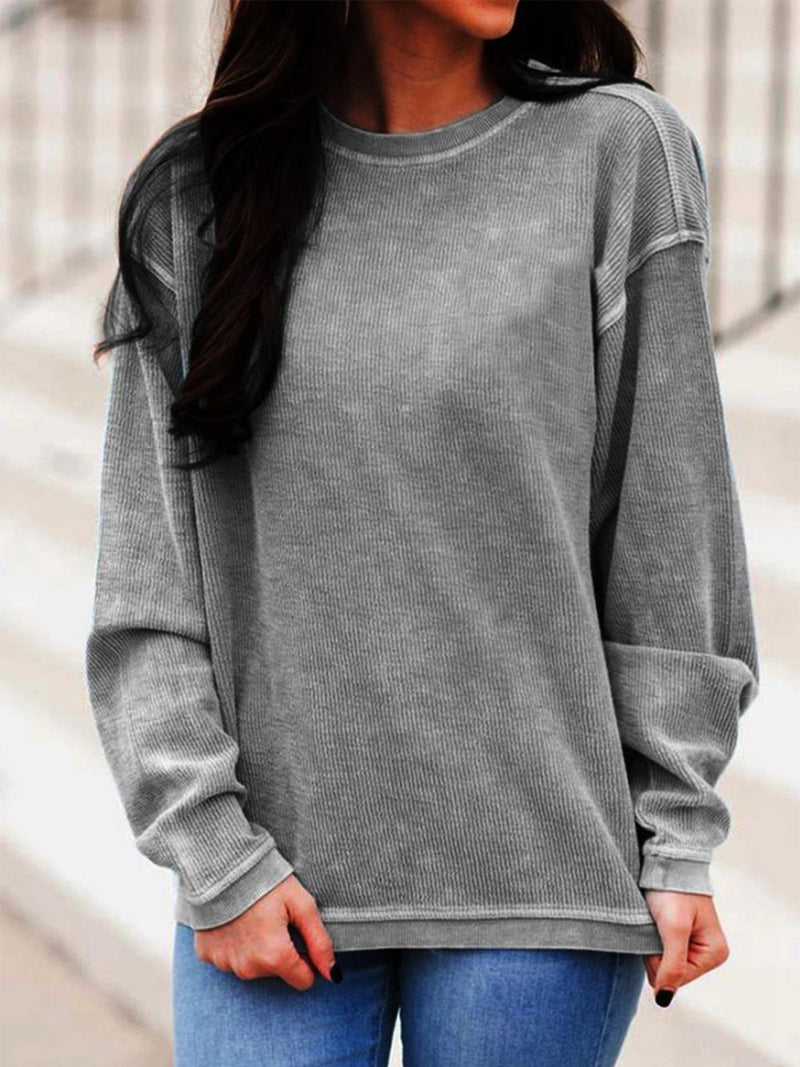 Crew Neck Solid Pullover Plus Size Loose Sweatshirt