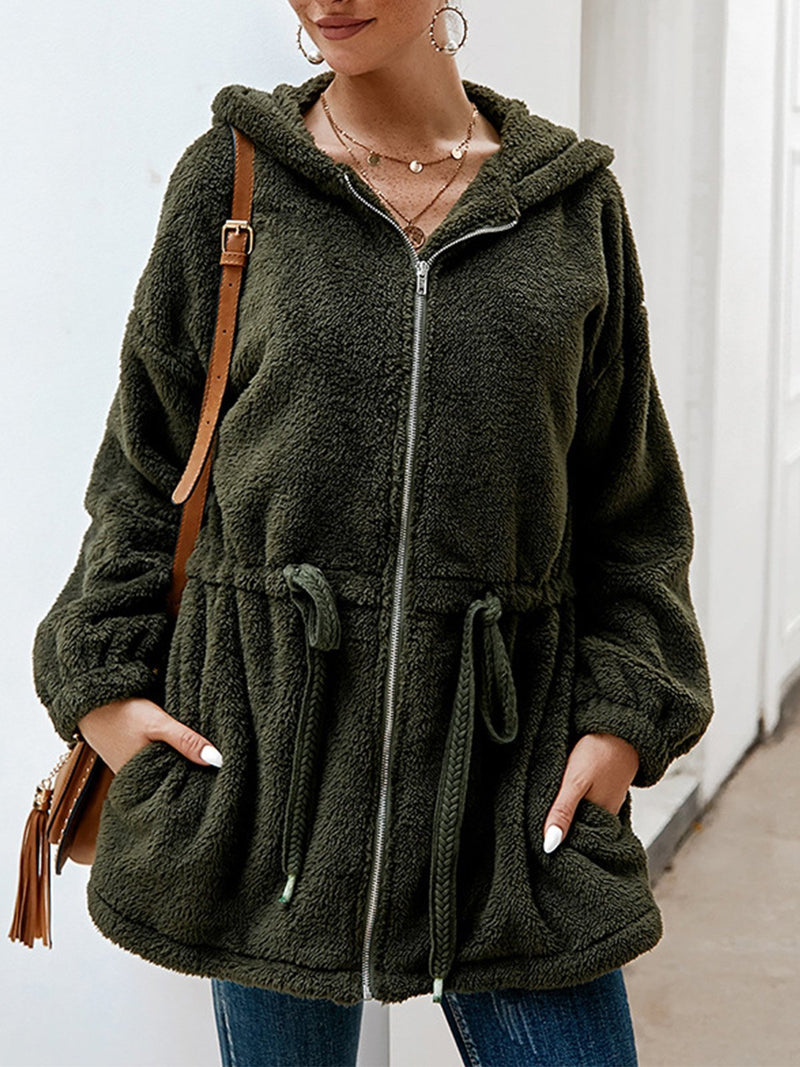 Solid Plush Zipper Hooded Neckline Draw-String Waist Coat