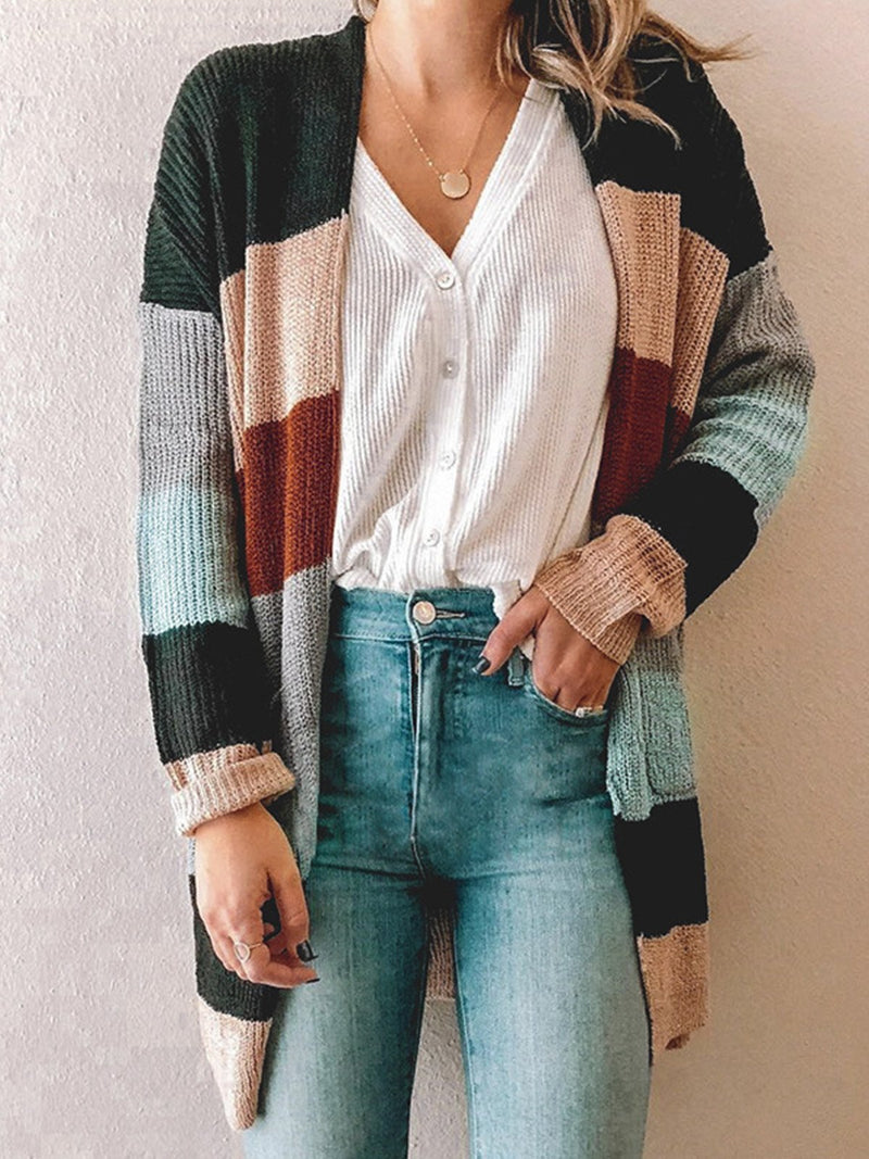 Multicolor Stitching Pocket Cardigan