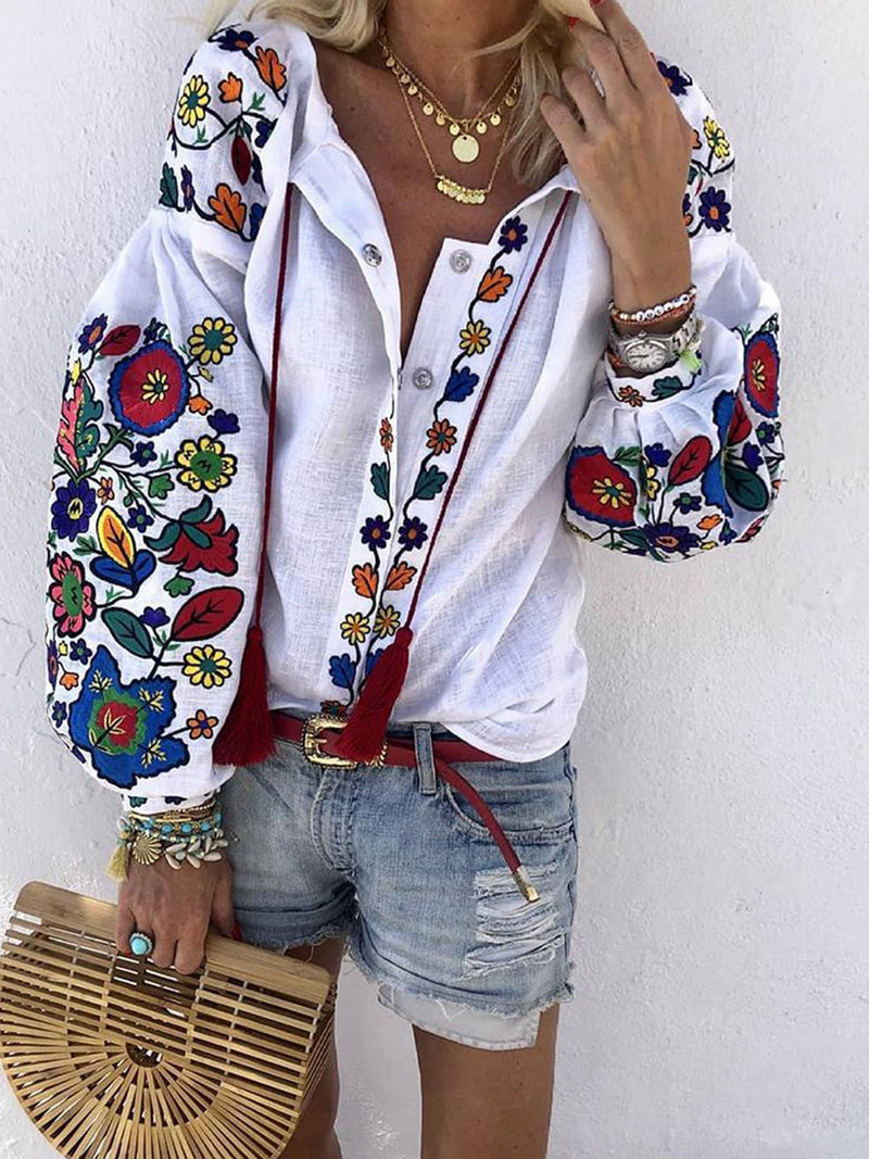 Embroidered Lantern Sleeve Casual Cotton Shirt
