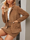 Khaki Two-Piece Cord Suit Short Skirt