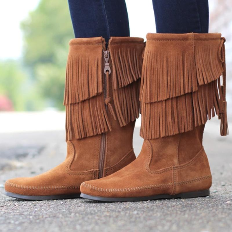 Fringed Mid-calf Brown Boots