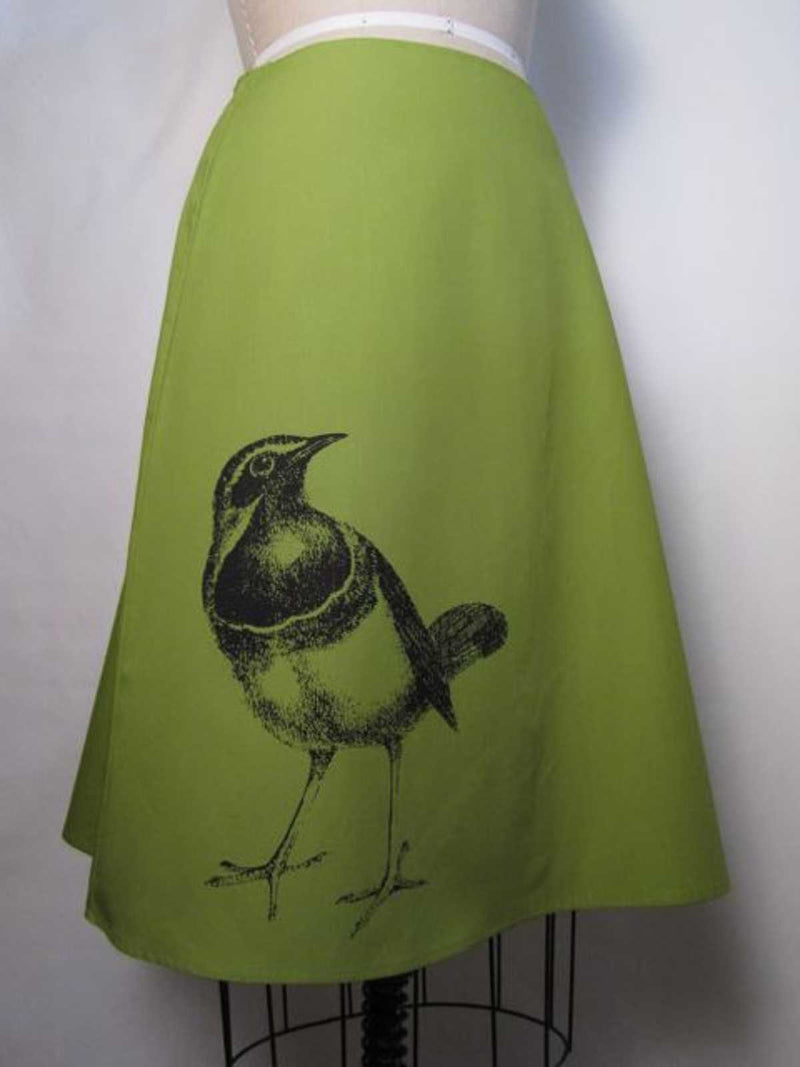 Bird Print Skirt in Cotton and Linen