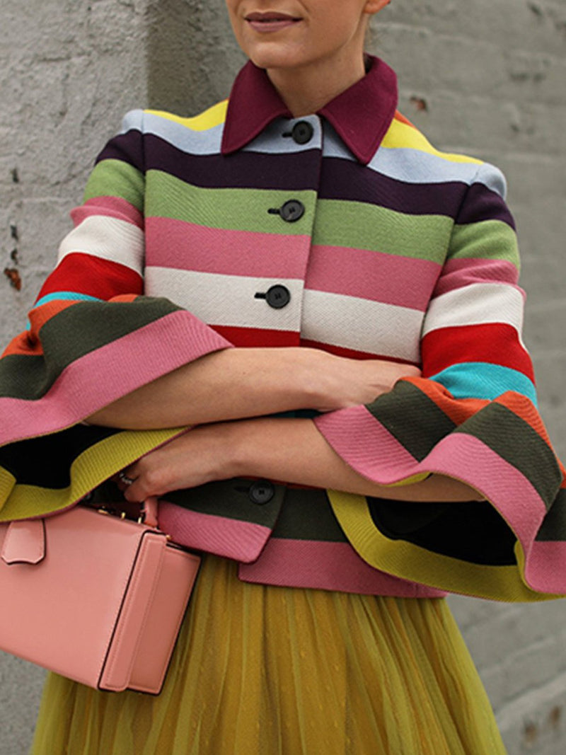 Rainbow Striped Thin Trumpet Sleeve Coat