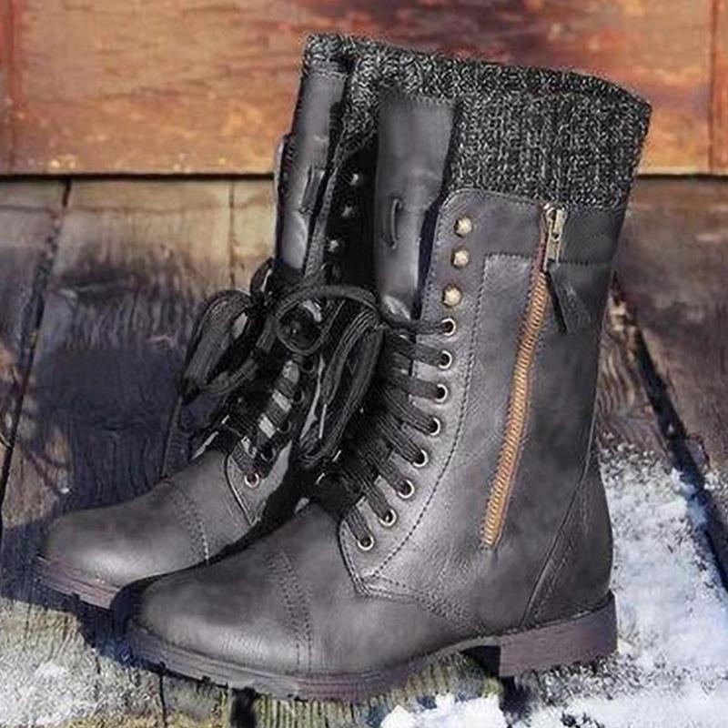 Vintage Knit Shoe Opening High-Tube Lace-Up Boots