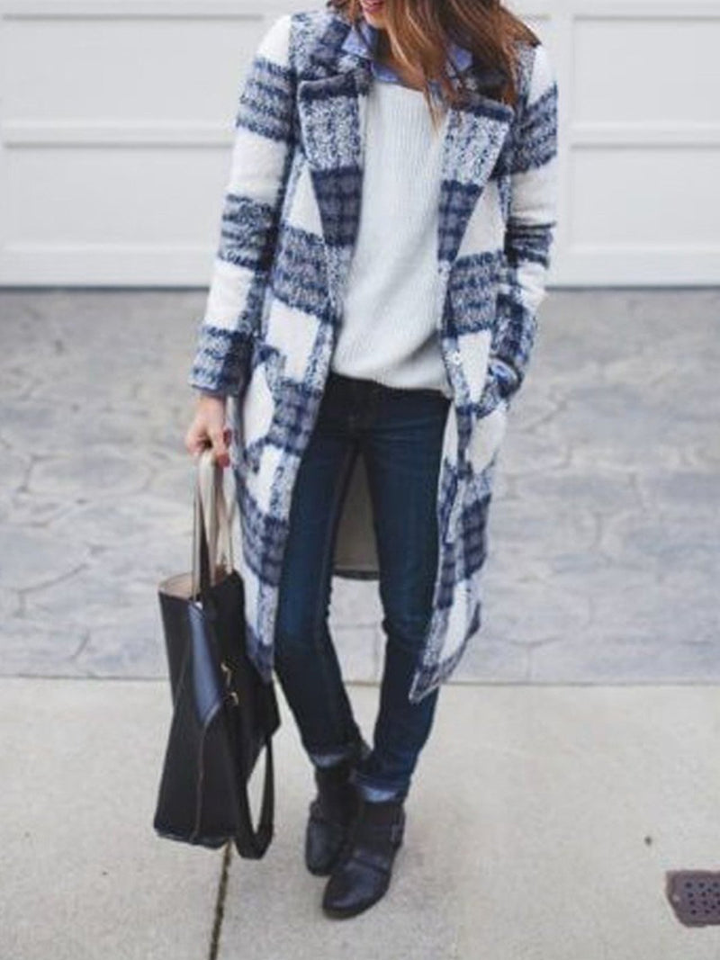 Long Loose Plaid Wool Coat