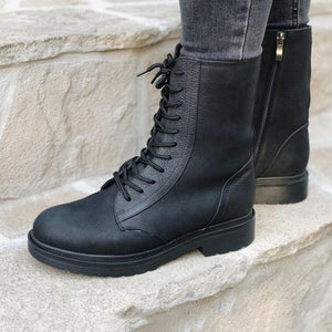 Women's Chic Daily Lace-up Black Boots