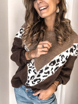 Leopard Print Pattern Geometric Loose Pullover Sweater With Large Size